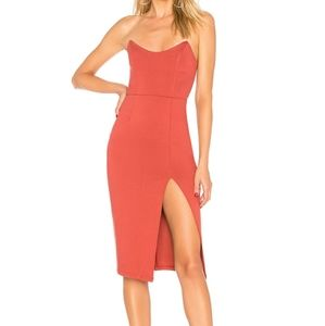 By the Way. Strapless Midi Dress in Dusty Rose